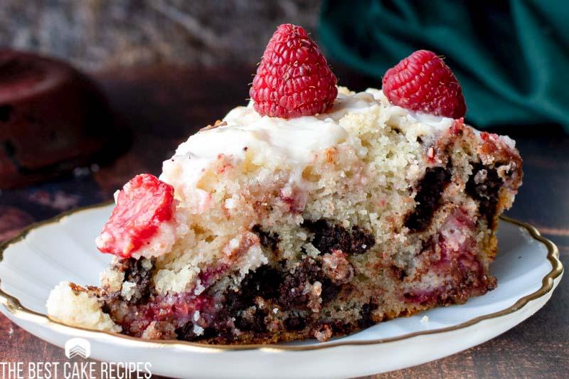 closeup of raspberry chocolate coffee cake