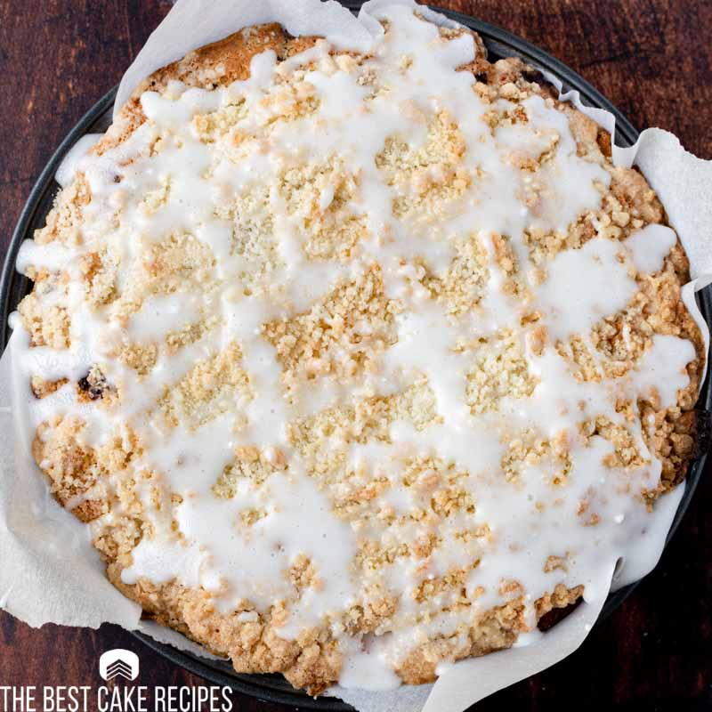 overhead view of streusel coffee cake