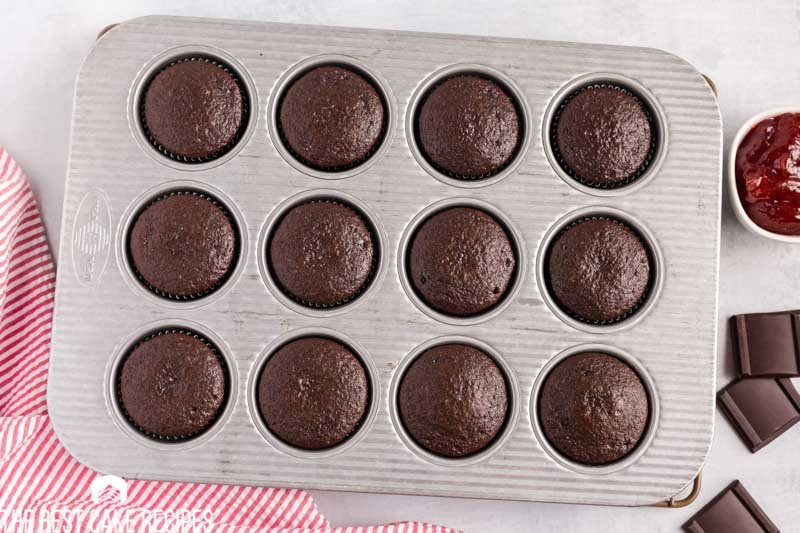 baked chocolate cupcakes in a pan