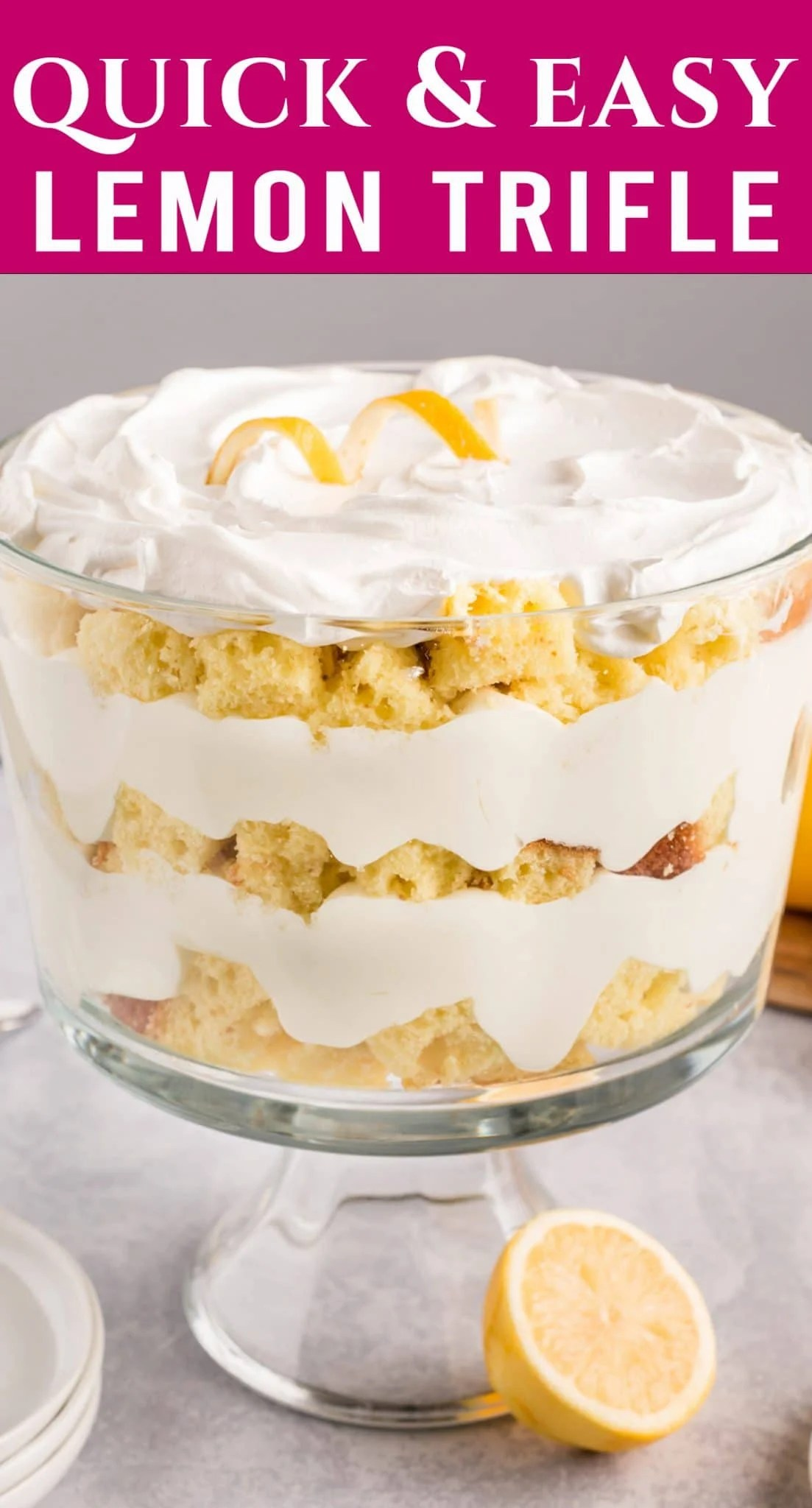Welcome in spring with this simply gorgeous Lemon Trifle. Layers of lemon cake with a whipped jello filling is perfect for serving a crowd. via @thebestcakerecipes
