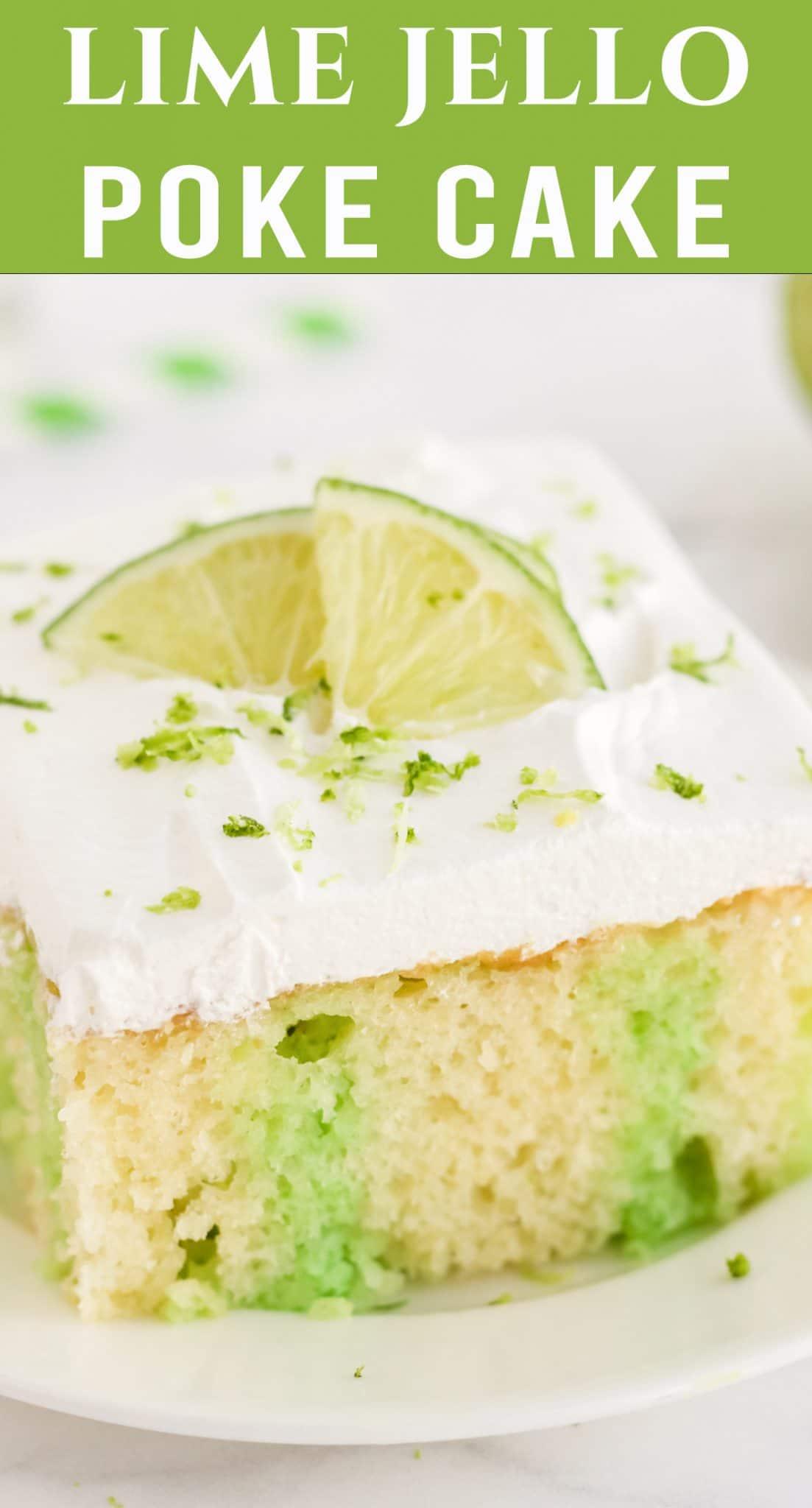 Lemon Lime Poke Cake is sweet, tangy and easy to make. Use a lemon cake mix, lime Jello and a lemon lime soda for great flavor. via @thebestcakerecipes