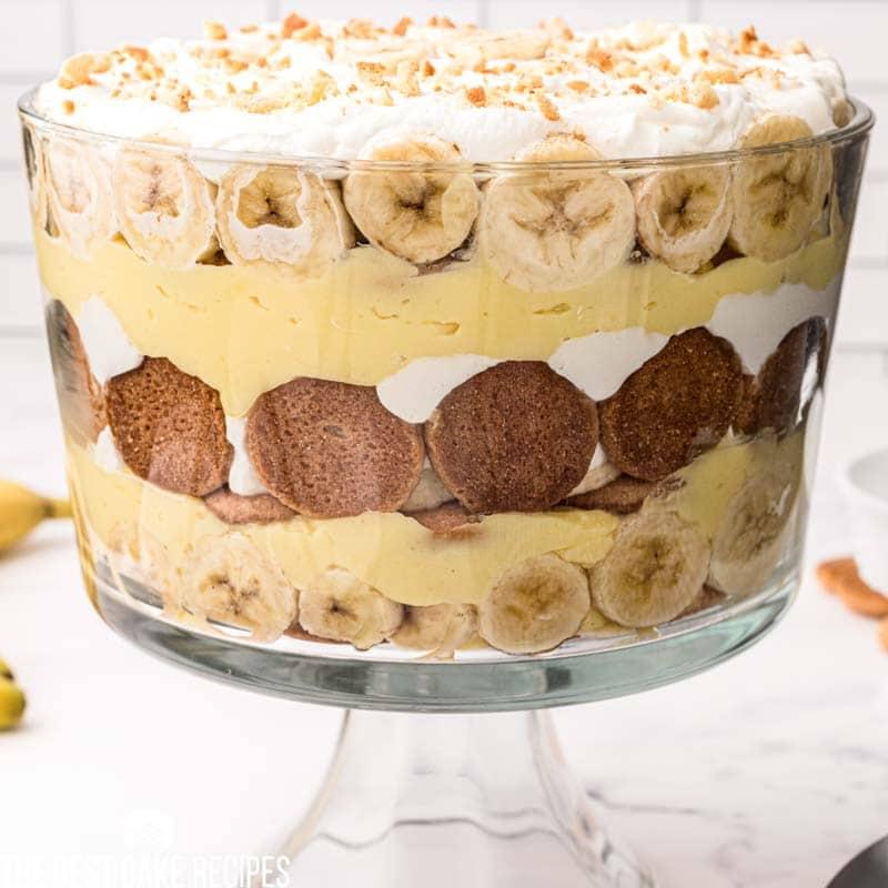 closeup of a banana layered trifle