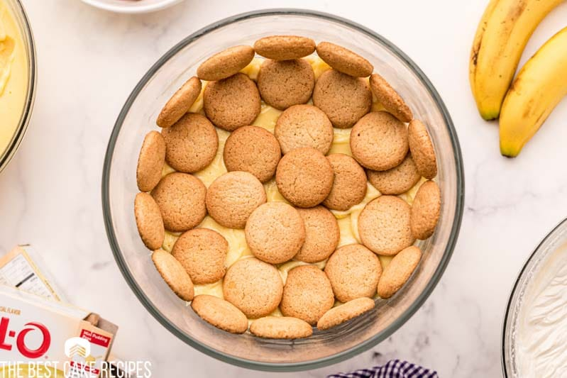 wafer cookies over pudding in a bowl