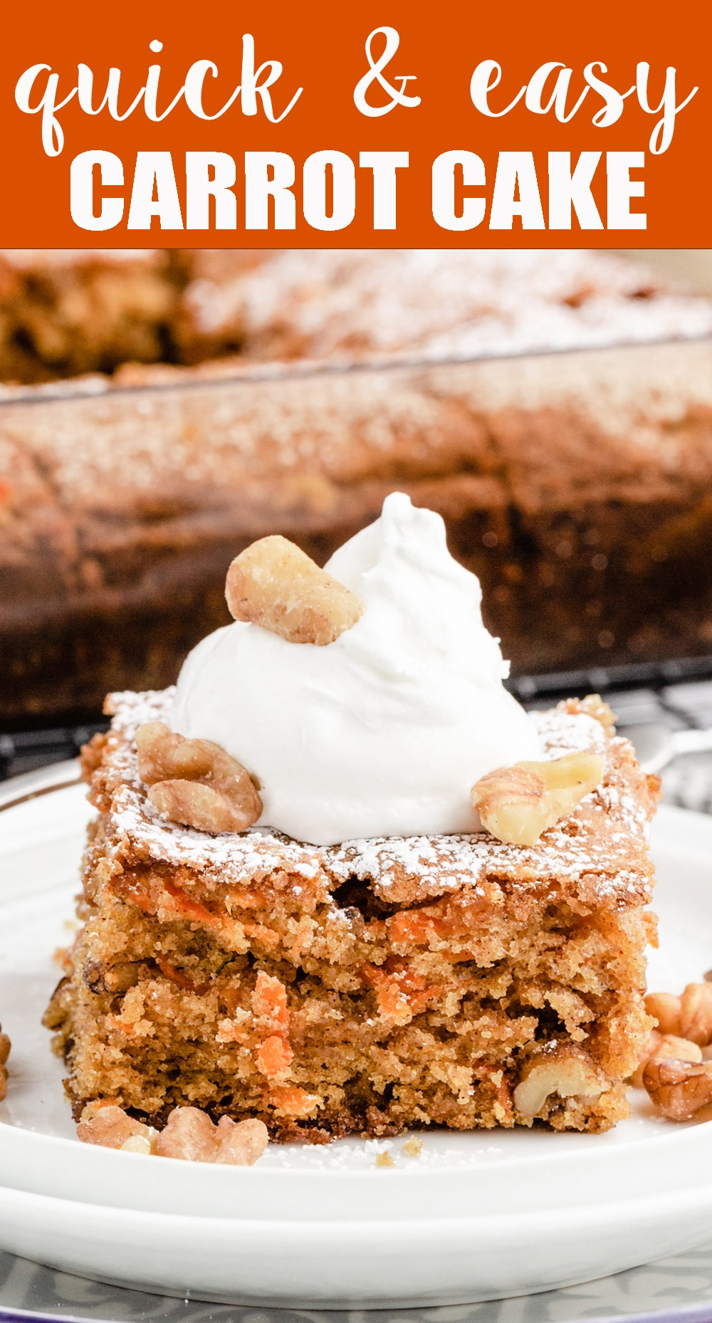 Easy 8x8 Carrot Walnut Cake perfect for dessert, breakfast or snack. This lightly sweetened cake needs no frosting and is loaded with walnuts. via @thebestcakerecipes