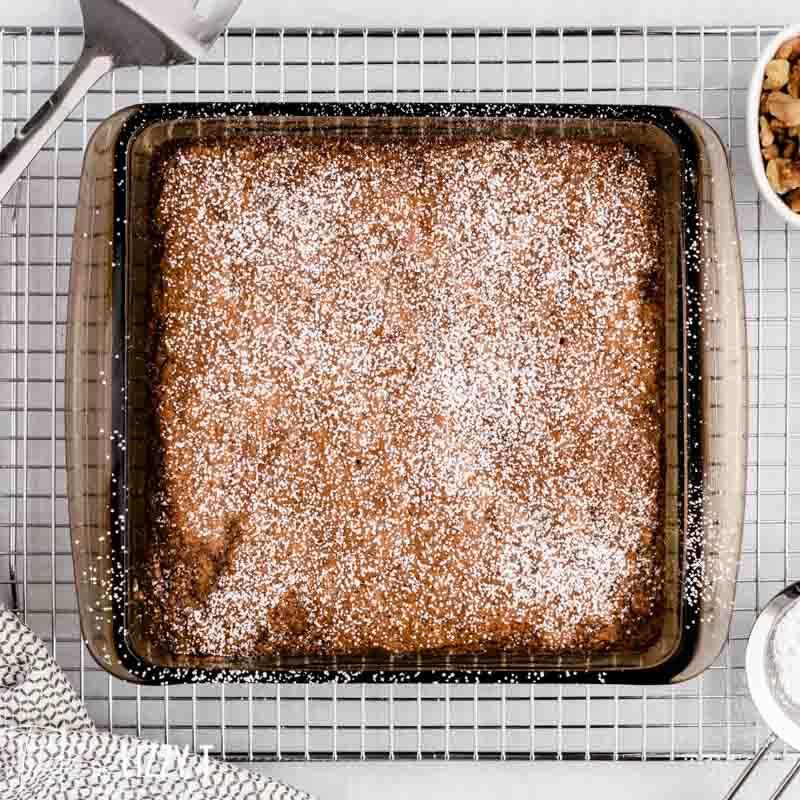 carrot walnut cake with powdered sugar