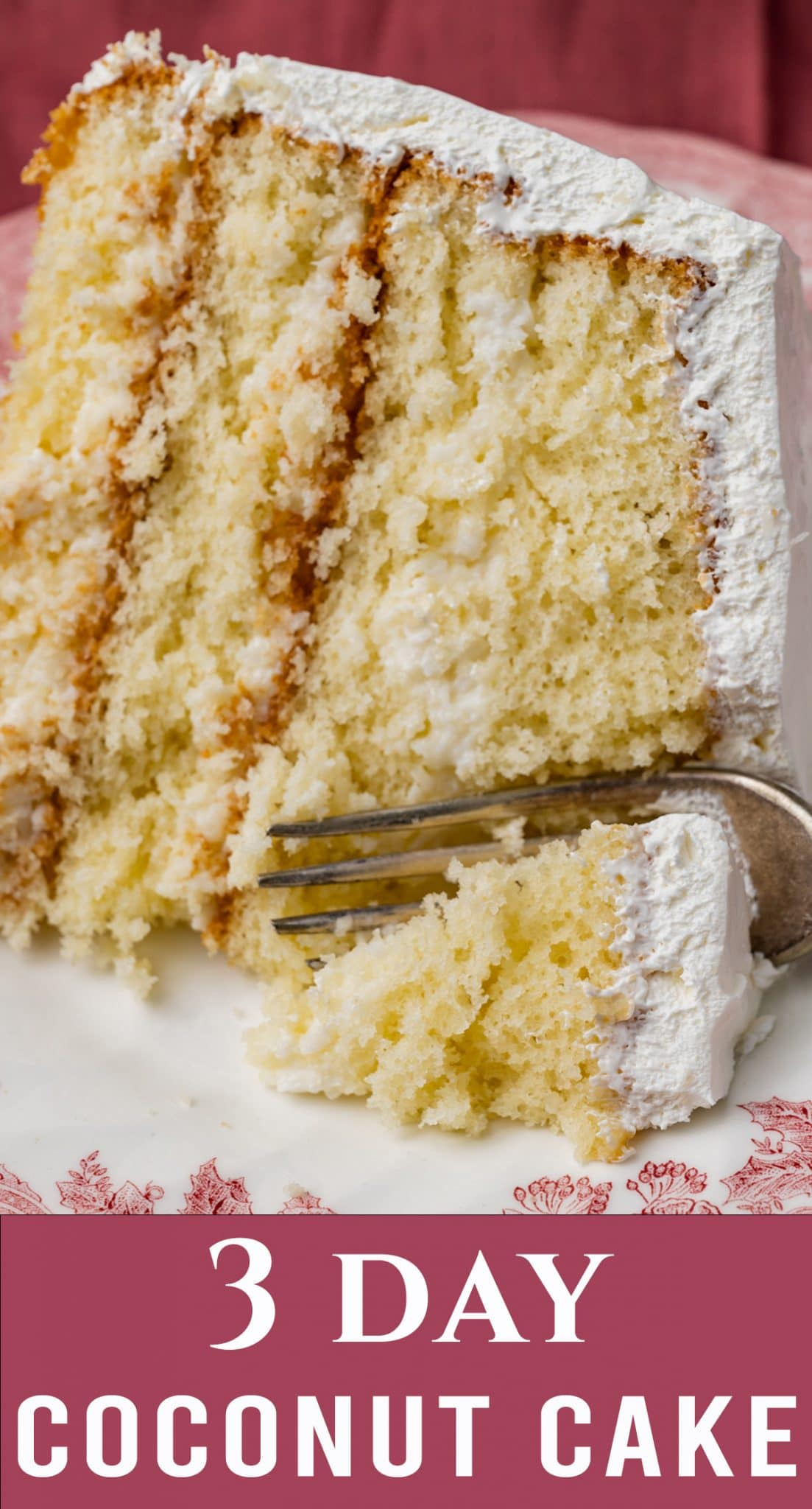 The best make ahead dessert ever! This old fashioned 3 Day Coconut Cake starts with a cake mix but you'd never know. It's lightly sweet and delicious. via @thebestcakerecipes