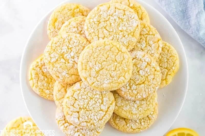 plate of lemon crinkle cookies