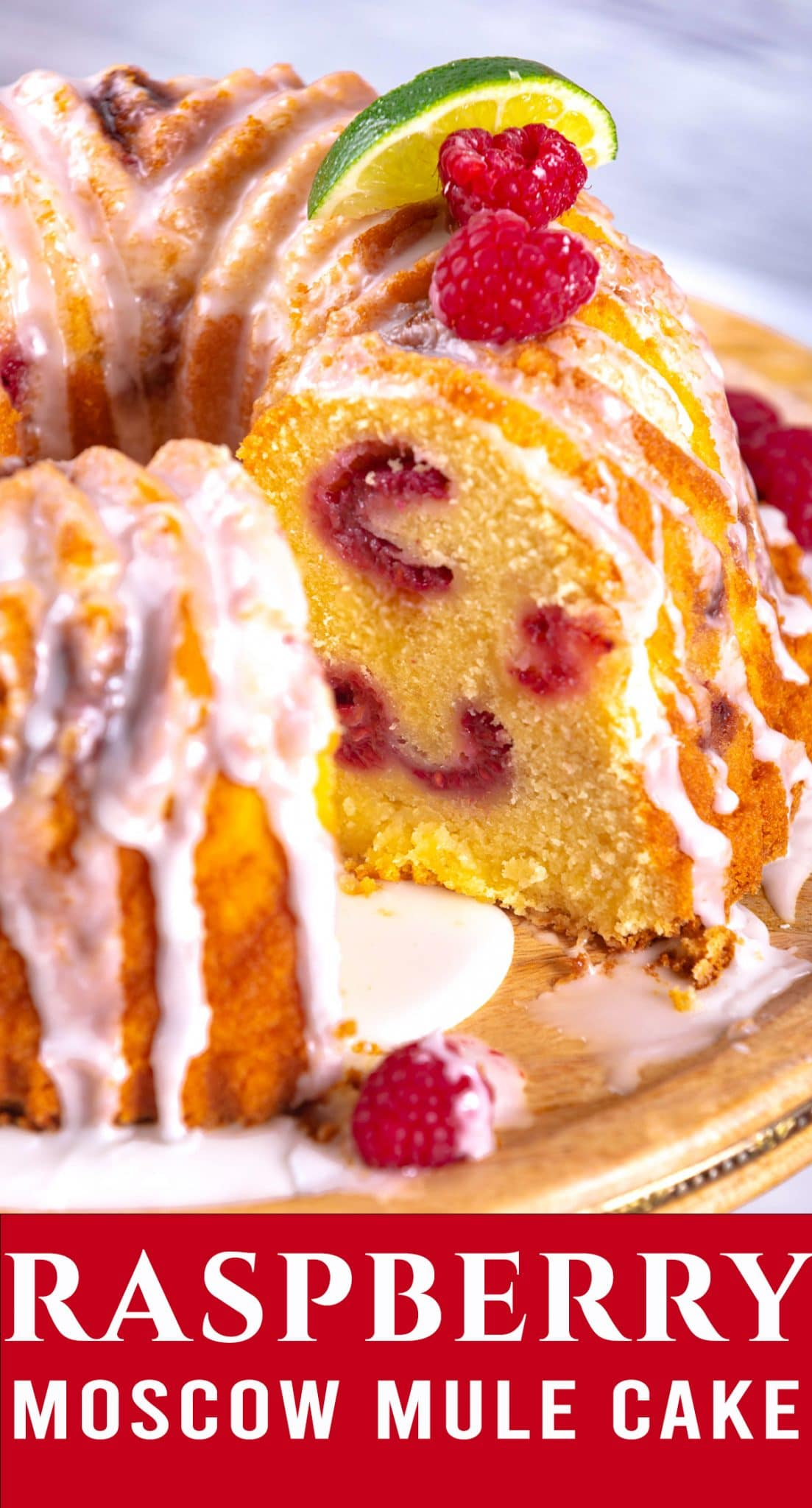 A deliciously rich pound cake, this glazed Raspberry Moscow Mule Cake makes a gorgeous presentation in a bundt cake shape. via @thebestcakerecipes