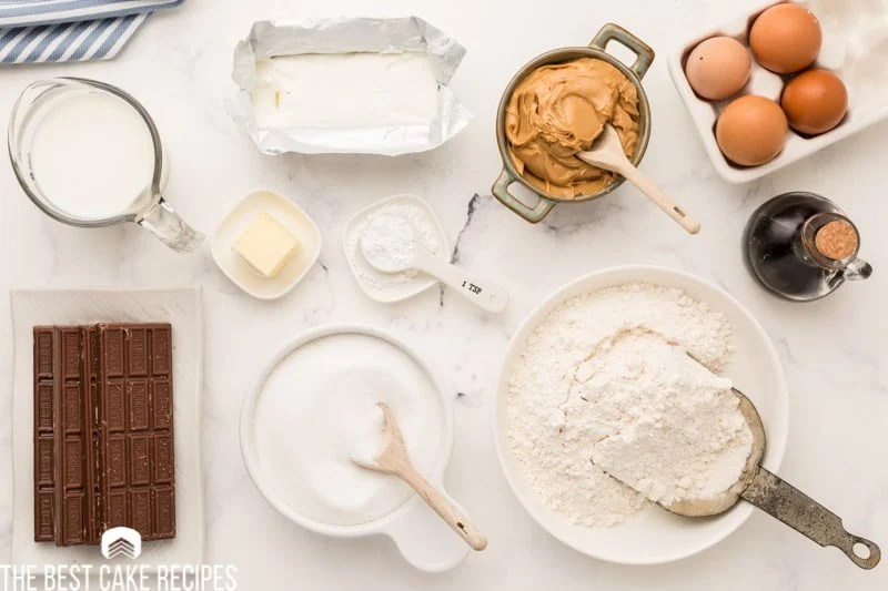 ingredients for tandy cake on a table