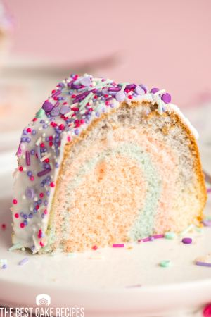 colorful bundt cake with sprinkles on a plate