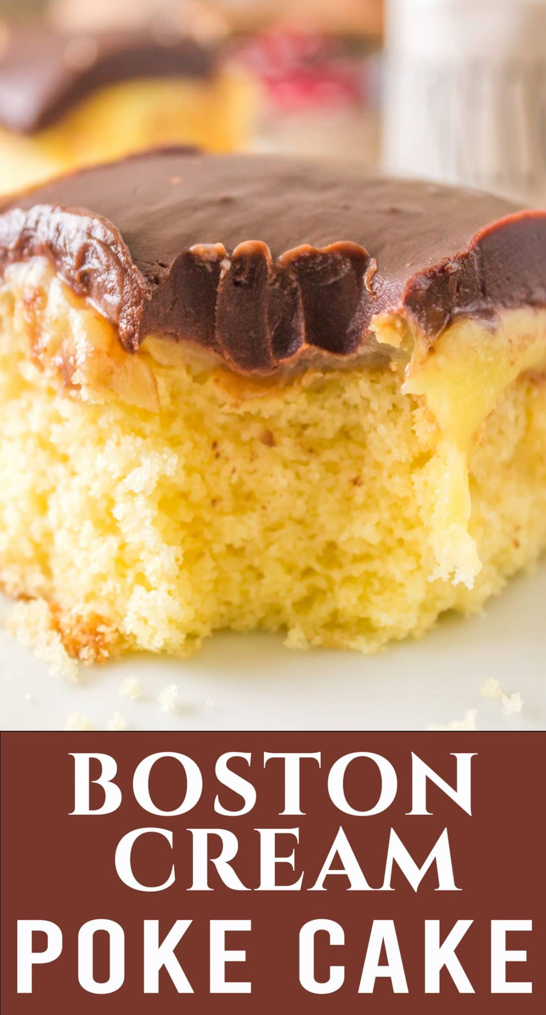 Cool and creamy, this Boston Cream Poke Cake makes a great potluck cake for picnics and dinners. You'll love the chocolate ganache topping. via @thebestcakerecipes