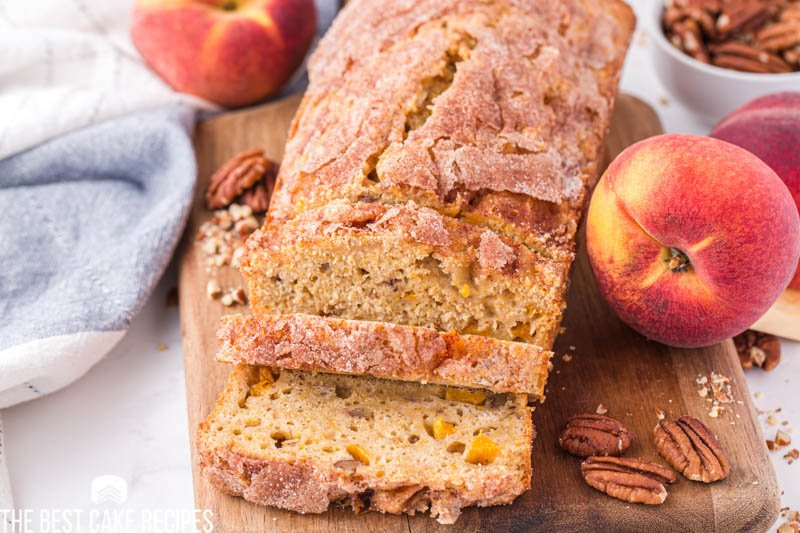 peach cake with pecans