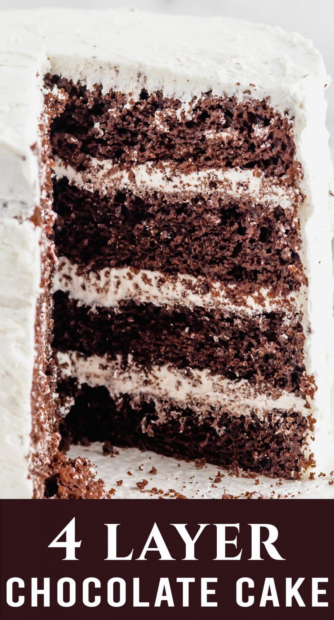 Four soft, moist and deliciously rich layers of chocolate cake are enveloped in a smooth, sweet, white buttercream. Impress your guests with this easy chocolate cake with white frosting. via @thebestcakerecipes