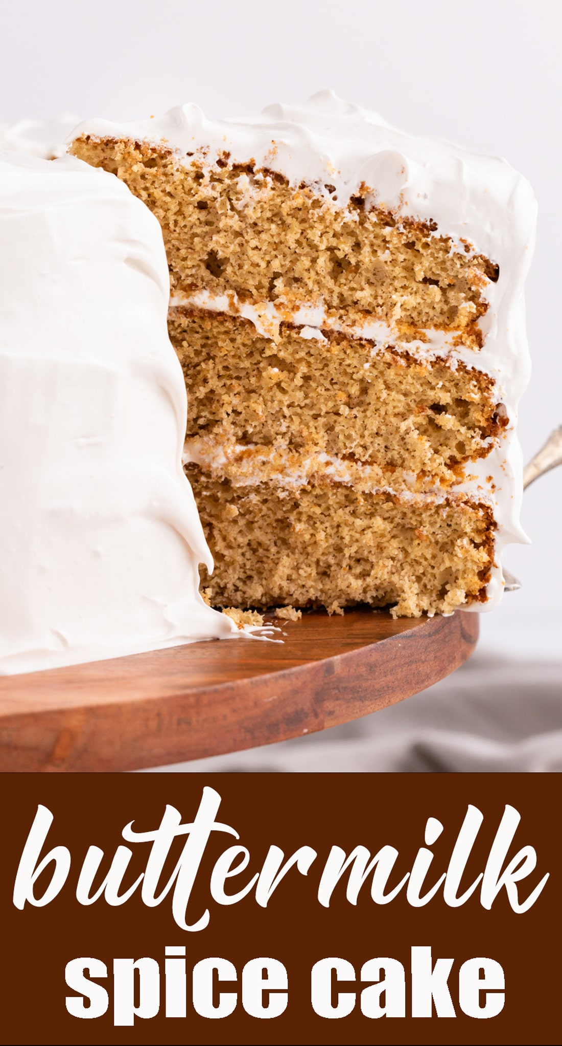 This Buttermilk Spice Cake gets its kick from cinnamon, cloves and black pepper. It has three layers of cake with seafoam frosting in between and 100% from scratch. via @thebestcakerecipes