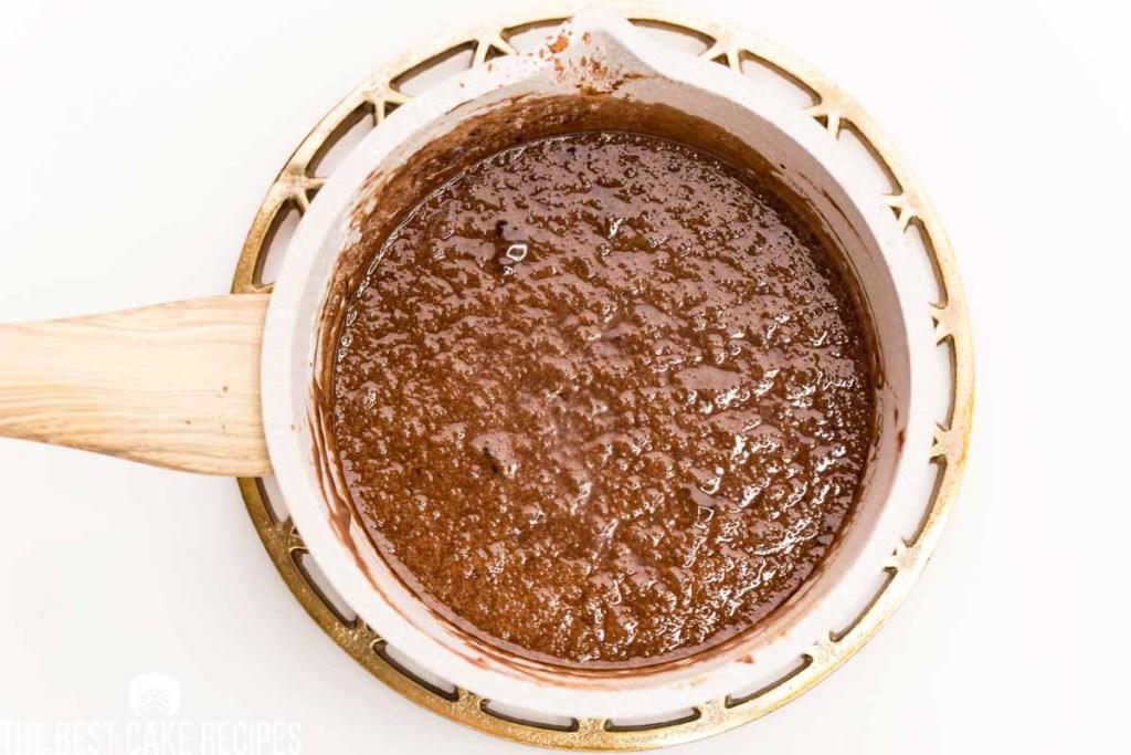 fudge frosting in a saucepan