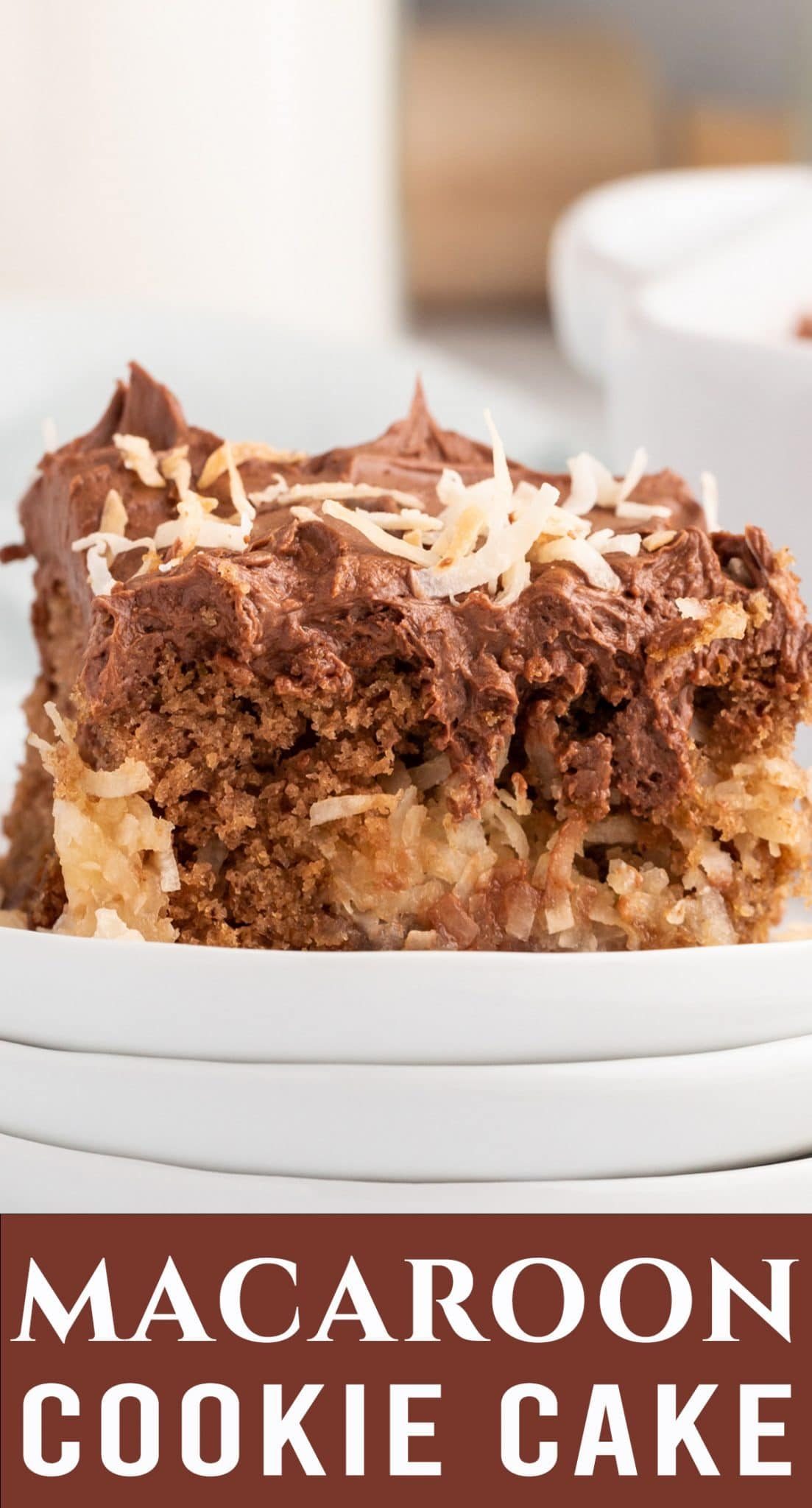 A light chocolate cake with pockets of a coconut surprise. This Macaroon Cookie Cake is uniquely sweet and has a melt in your mouth chocolate frosting. via @thebestcakerecipes