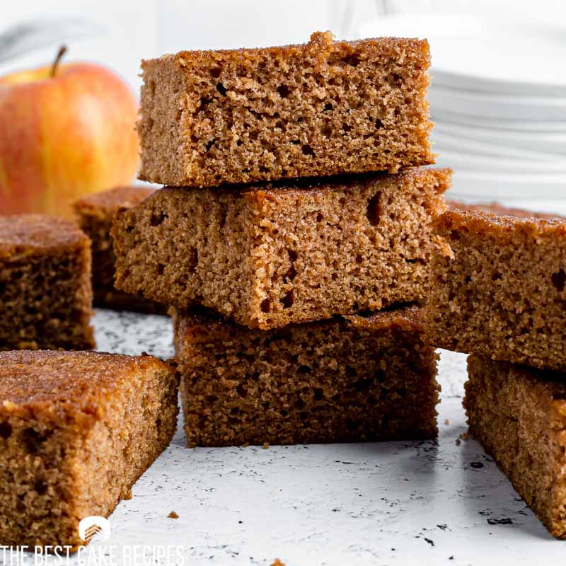 a stack of three pieces of spice cake