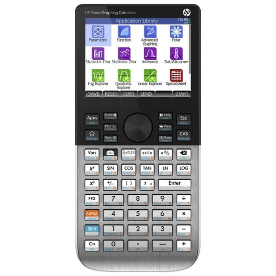 HP G8X92AA LA Prime v2 Graphing Calculator that features a gray design and also a little black area around the screen