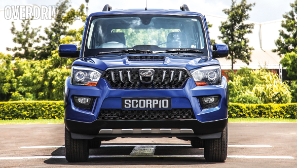 the new gen Scorpio in Regal Blue - front view