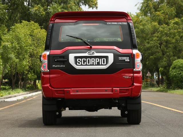 The Scorpio in Molten Red - rearview