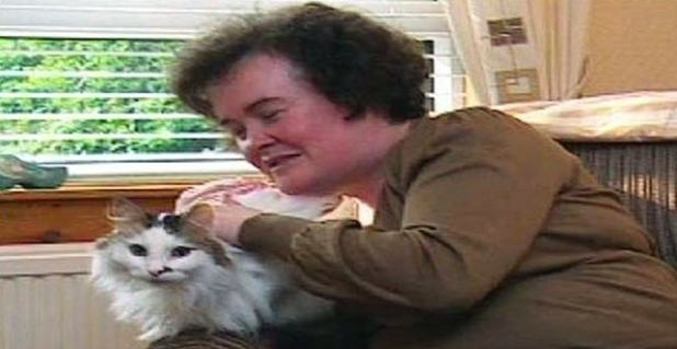 Susan Boyle with Pebbles the cat