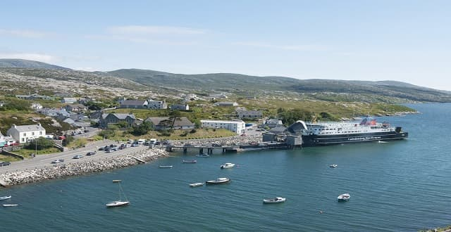 The feline sailed to Oban, Scotland, from Harris (above), where she had been living with a colony of cats