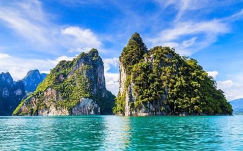 Cliffs Islands Tropical Summer Thailand Beautiful Beaches Rocks Paradise Khao Sok Shrubs Limestone Twin National Park Sea Wallpapers For Desktop