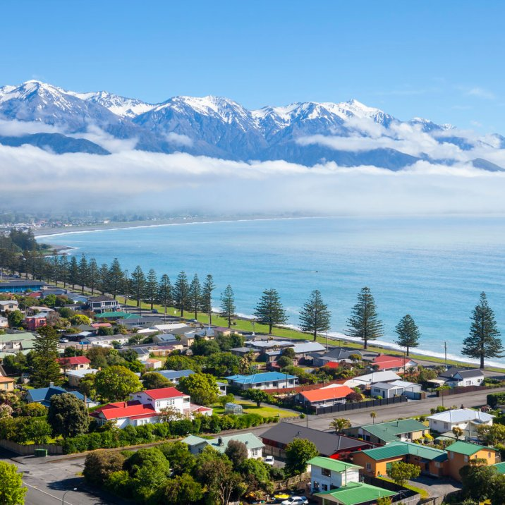 Elevated view over the picturesque coastal town of Kaikoura, South Island, New Zealand