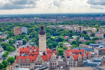 Aerial view of Leipzig, Germany.