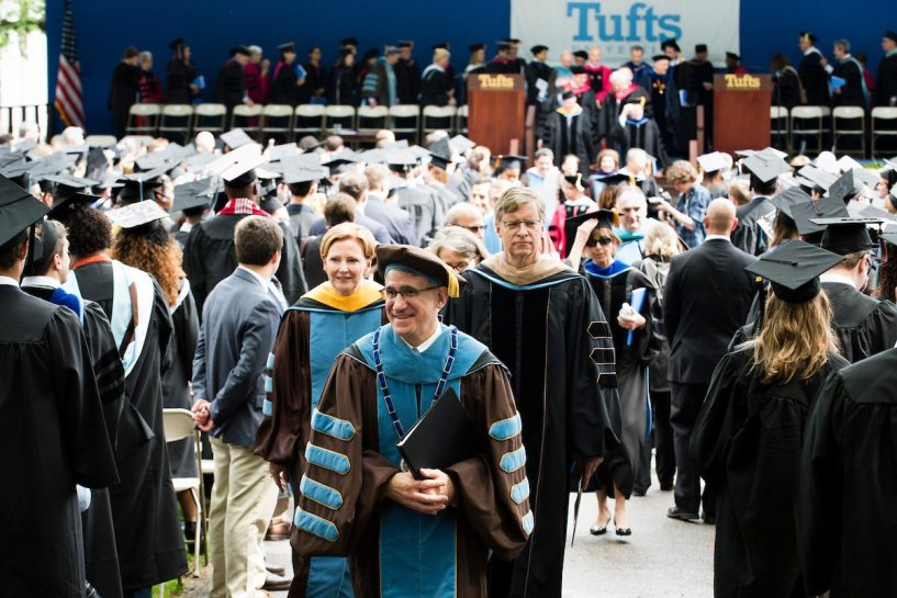 05/20/2018 - Medford/Somerville, Mass. - Tufts University President Anthony P. Monaco leads the recession of the platform party at the conclusion of the Phase I ceremony of Tufts University's 162nd Commencement on Sunday, May 20, 2018. Alonso Nichols/Tufts University)