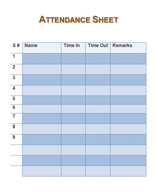 photo about Attendance Sheet Printable known as 10+ Absolutely free Attendance Sheet Printable- Attendance Sheet Templates!