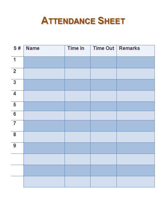 10 Free Attendance Sheet Printable Attendance Sheet Templates – School Attendance Sheets