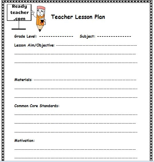 Lesson Plan Word Template  Text