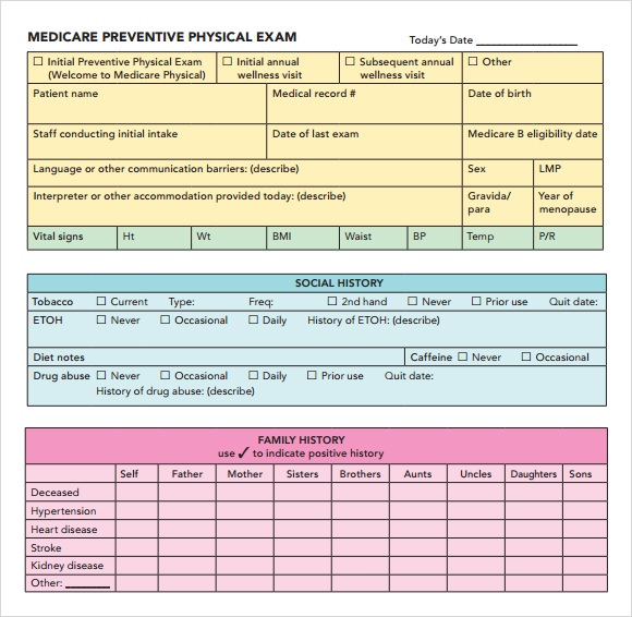 Physical Exam Template Word Excel Pdf For Men And Women