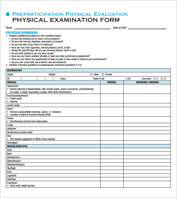 Physical Exam Template