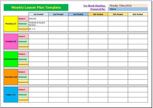 Lesson Plan Sample Peccadillous - Monthly lesson plan template