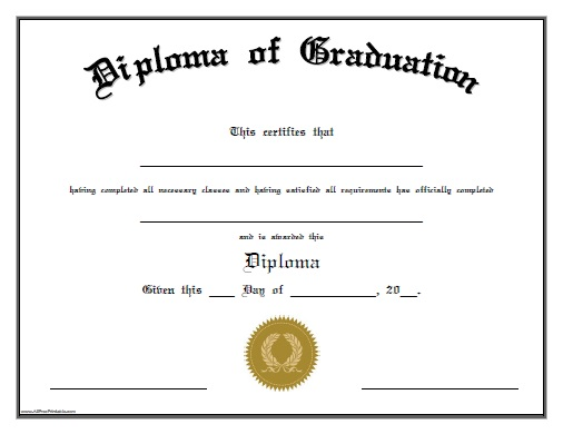 High School Diploma Template With Seals