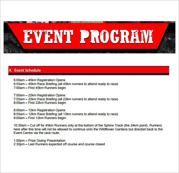 Event Program Template Printables Free Download