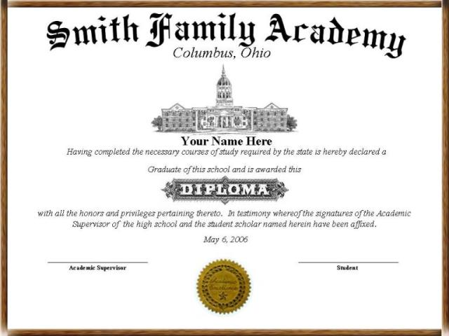 standard diploma template
