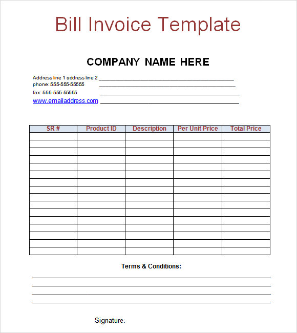 payment invoice template free