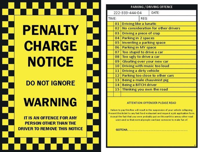 Versatile image regarding fake parking ticket printable