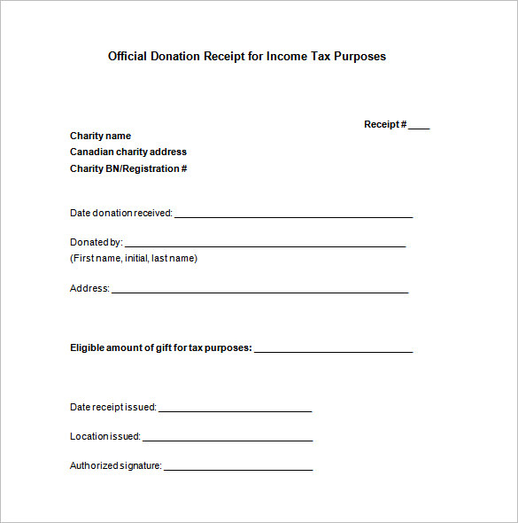Charitable Donation Receipt Template Free Download