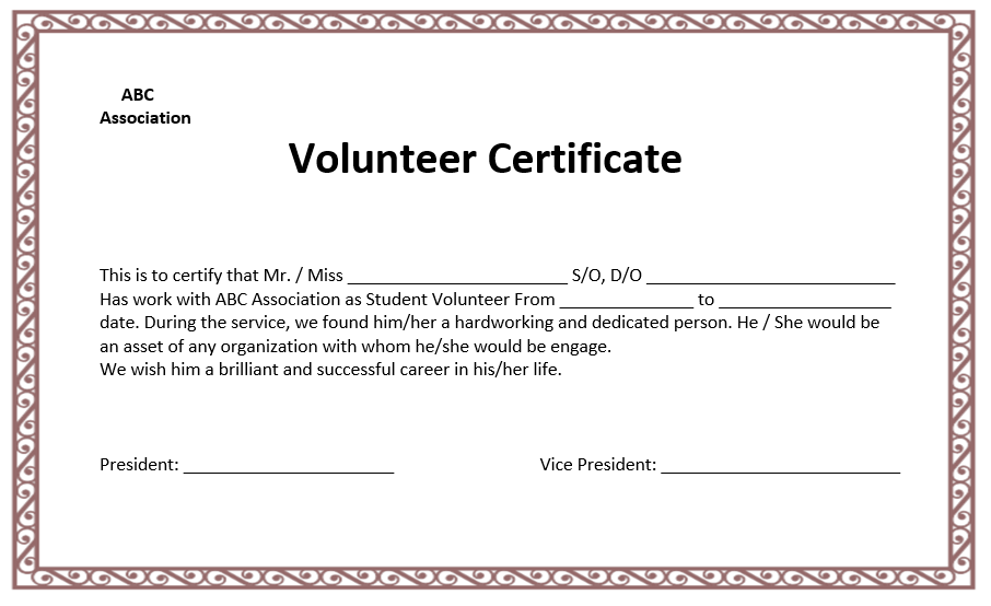 Volunteers Certificate Templates Free Download