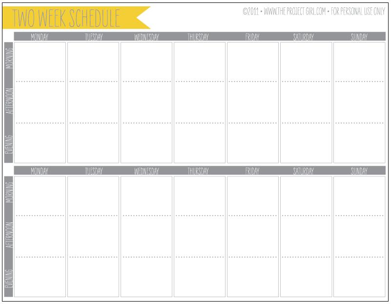 2 week calendar template free download