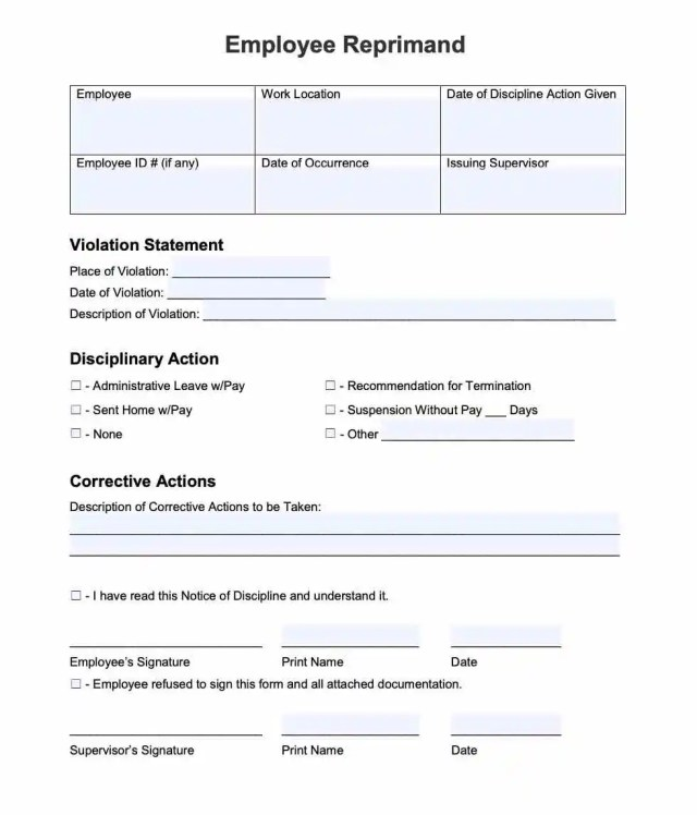 Employee Reprimand Form