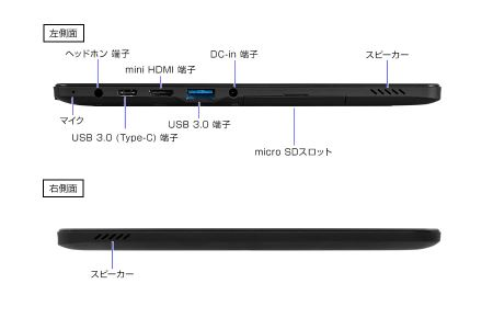 マウスコンピューター 10.1型 2in1タブレットPC「MT-WN1004-V2-IIYAMA」外部出力端子