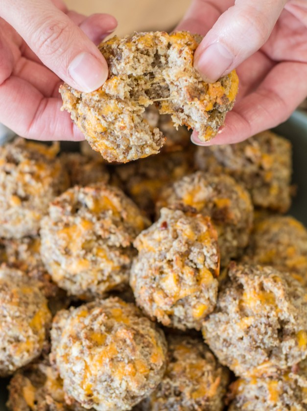 These easy Almond Flour Keto Sausage Balls are the perfect Keto appetizer, or great for keto meal prep! Less than one net carb per ball!