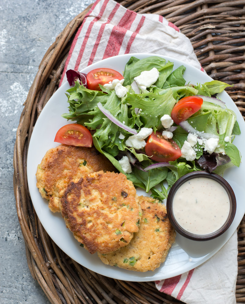 These Crispy Keto Salmon Patties are packed with tender salmon, cajun spices and fried until golden brown! An easy low carb dinner perfect for busy nights!