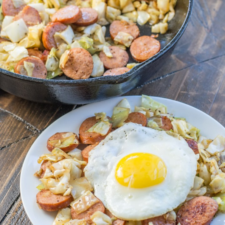 This Keto Sausage and Cabbage Breakfast Hash is an incredibly hearty low carb breakfast! At under 5 net carbs per serving this dish takes similar to a traditional breakfast hash without the carbs!