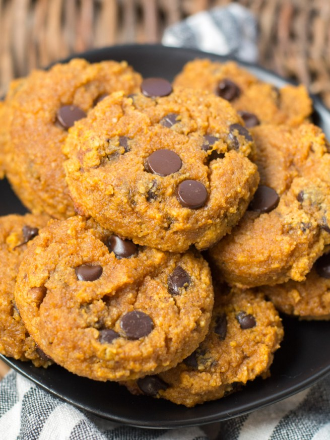 These Keto Pumpkin Chocolate Chip Cookies come to about one net carb each! The ultimate low carb Fall dessert! #keto #pumpkin